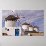 De windmolens van Mykonos op de Griekse Eilanden Poster
