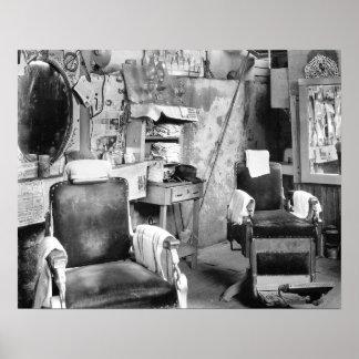 De Winkel van de Kapper van Atlanta, 1936. Vintage Poster