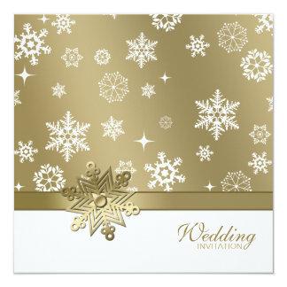 De winter Champagne en het witte Huwelijk van 13,3x13,3 Vierkante Uitnodiging Kaart