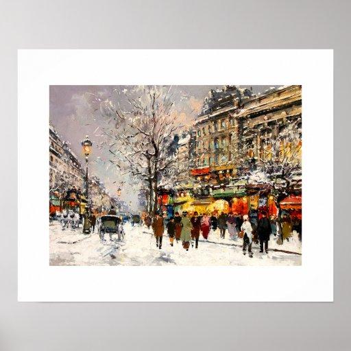 De winter in Parijs. Het fijne Poster van de Kunst