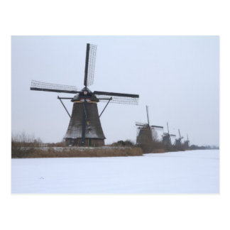De winter Kinderdijk Briefkaart