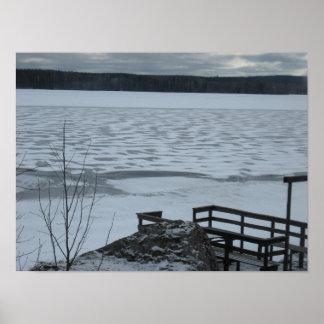 De winter op het meer poster