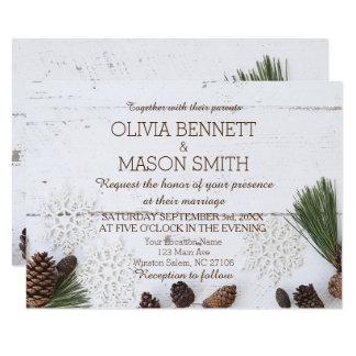 De winter Pinecone en de Kaart van het Huwelijk 8,9x12,7 Uitnodiging Kaart