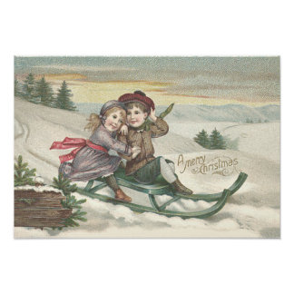 De Winter van de Sneeuw van de Kerstboom van Fotoafdruk