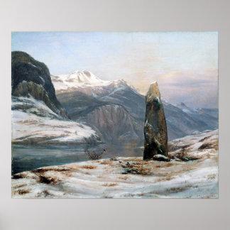 De Winter van Johan Christian Dahl in Sognefjord Poster