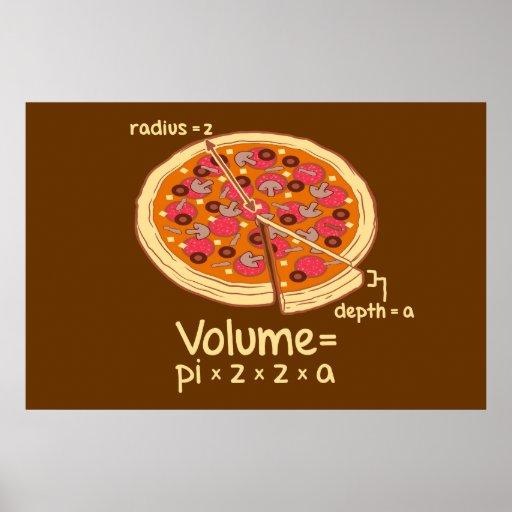 De Wiskundige Formule van het Volume van de pizza  Print