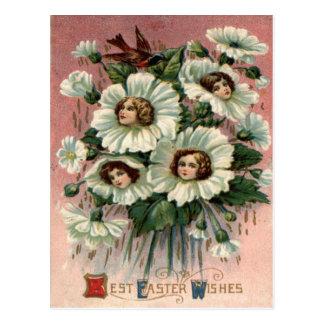 De Witte Bloem van het Victoriaans Meisje Briefkaart