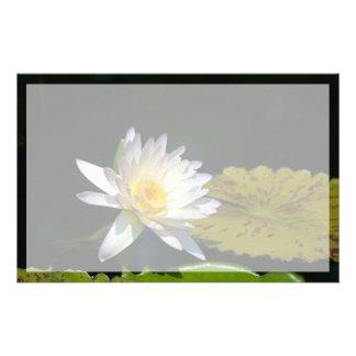 De witte Bloem van Lotus Waterlily Briefpapier