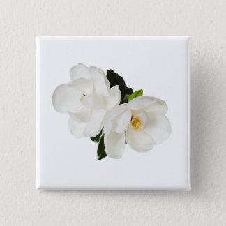 De witte BloemenBloemen van de Magnolia's van de Vierkante Button 5,1 Cm