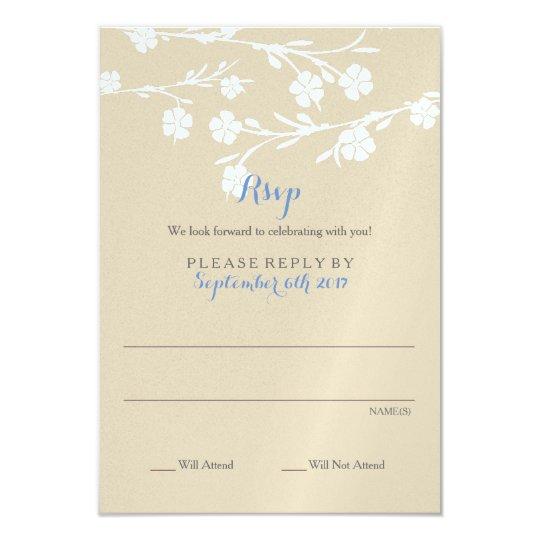 De witte BloemenKaart van Rsvp van het Huwelijk 8,9x12,7 Uitnodiging Kaart