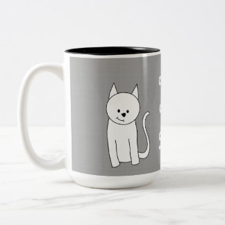 De witte Cartoon van de Kat Koffie Beker