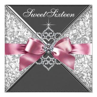 De witte Diamanten doorboren de Zwarte Zoete 13,3x13,3 Vierkante Uitnodiging Kaart