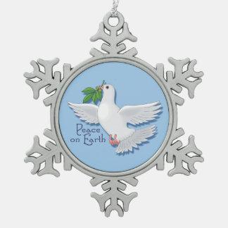 De witte Duif van de Vrede ter wereld Tin Sneeuwvlok Ornament