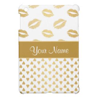 De witte en Gouden Kussen en Harten van de Liefde iPad Mini Cover