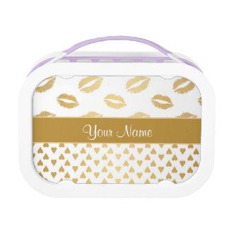 De witte en Gouden Kussen en Harten van de Liefde Lunchbox