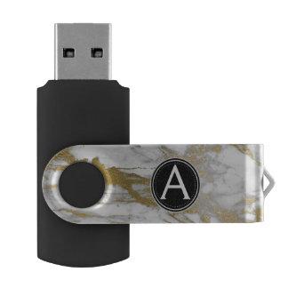 De witte en Gouden Marmeren Aandrijving van de USB Stick