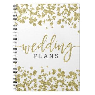 De witte & Gouden Ontwerper van het Huwelijk van Notitieboek