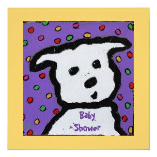 de witte hond BabyShower nodigt uit Kaart