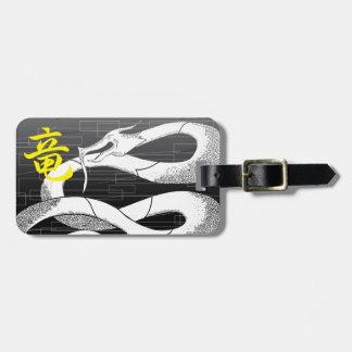De witte Japanse Zwarte Achtergrond van de Draak Kofferlabels