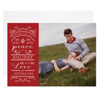 De witte Kaart van de Foto van Kerstmis van de 12,7x17,8 Uitnodiging Kaart