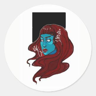 De witte Koningin van de Bloem Ronde Sticker