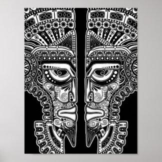 De witte Mayan Illusie van het Masker van Tweeling Poster