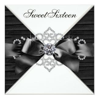 De witte Partij van Verjaardag 16 van Diamanten 13,3x13,3 Vierkante Uitnodiging Kaart