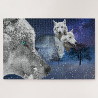 De witte Puzzel van het Afbeelding van de Wolf Puzzel