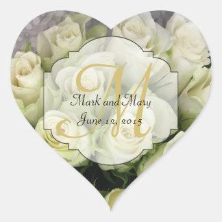 De witte Reeks van het Huwelijk van Rozen bloost Hart Sticker