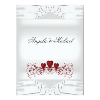 De witte Rode Uitnodiging van het Huwelijk van