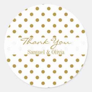 De witte Ronde Gouden Gestippelde Polka van de Ronde Sticker