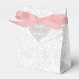 De witte Roze Grijze Gunst van het Huwelijk van Bedankdoosjes