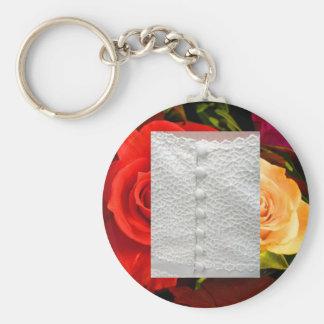 De witte Rozen Keychain van de Toga van het Huweli Basic Ronde Button Sleutelhanger