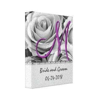 De Witte Rozen van de Datum van het Huwelijk van h Stretched Canvas Afdruk