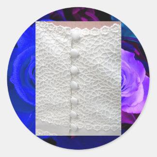 De witte Rozen van de Toga van het Huwelijk Blauwe Ronde Stickers