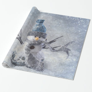 De witte sneeuwman van Kerstmis Cadeaupapier