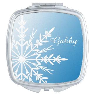 De witte Sneeuwvlok van de Winter op Blauw Make-up Spiegels