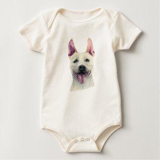 De witte Staffordshire Bull terrier Waterverf van Baby Shirt