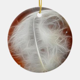 De witte Veer van de Engel Rond Keramisch Ornament