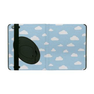 De witte Wolken van de Cartoon op Blauw Patroon iPad Hoesje