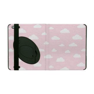 De witte Wolken van de Cartoon op Roze Patroon Als iPad Hoesje