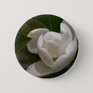 de witte zuidelijke knop van de magnoliabloem ronde button 5,7 cm