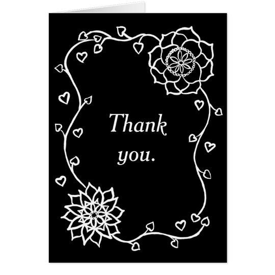 De witte Zwarte van de Harten van Bloemen dankt u Notitiekaart