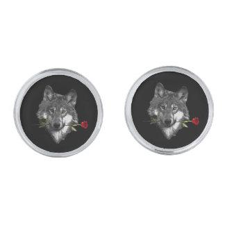 De wolf nam toe verzilverde manchetknopen