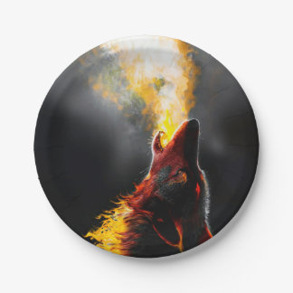 De wolf van de brand papieren bordje