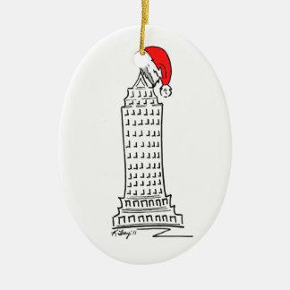 De Wolkenkrabber van Kerstmis van de Stad NYC de Keramisch Ovaal Ornament