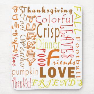 De Woorden Mousepad van de Thanksgiving Muismatten