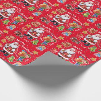 De workshopspeelgoed van de kerstman het verpakken inpakpapier