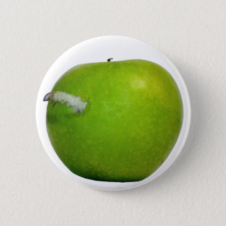 De worm in de appel ronde button 5,7 cm