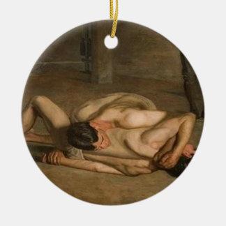 De worstelaars sieren rond keramisch ornament